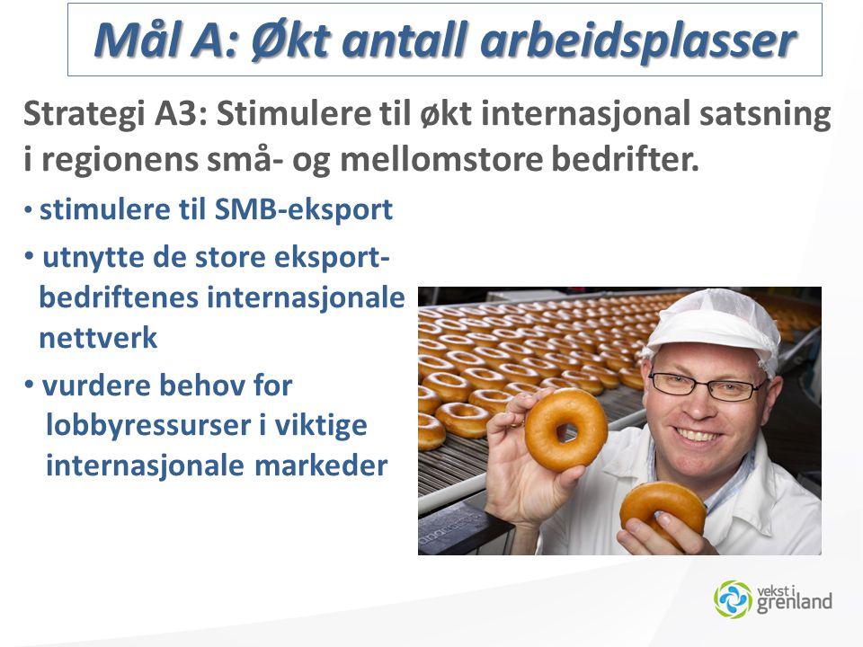Strategi A3: Stimulere til økt internasjonal satsning i regionens små- og mellomstore bedrifter.