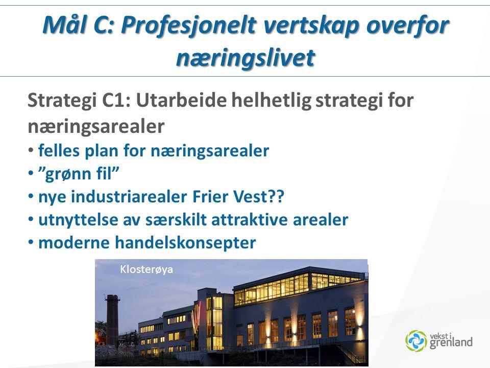 Strategi C1: Utarbeide helhetlig strategi for næringsarealer felles plan for næringsarealer grønn fil nye industriarealer Frier Vest?.
