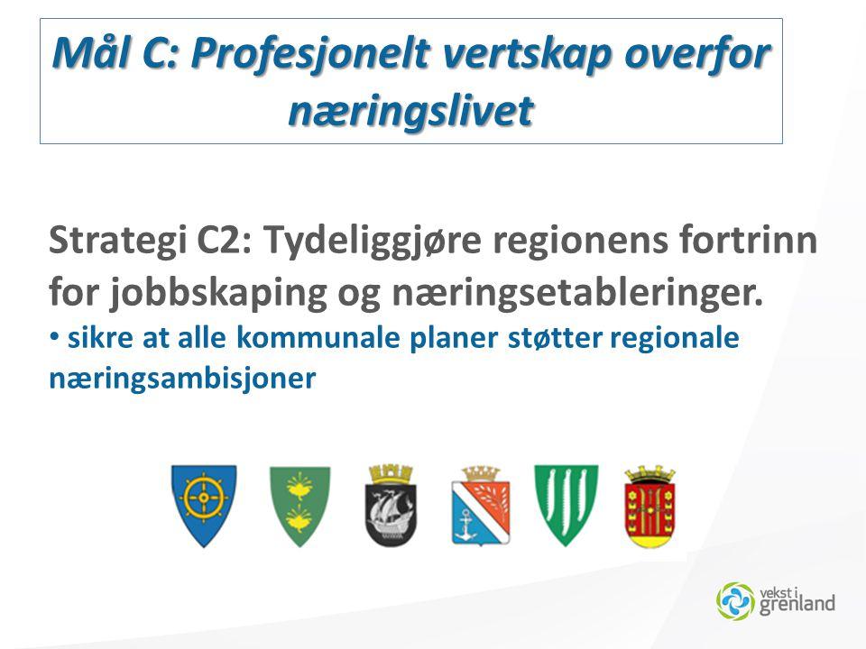 Mål C: Profesjonelt vertskap overfor næringslivet Strategi C2: Tydeliggjøre regionens fortrinn for jobbskaping og næringsetableringer.