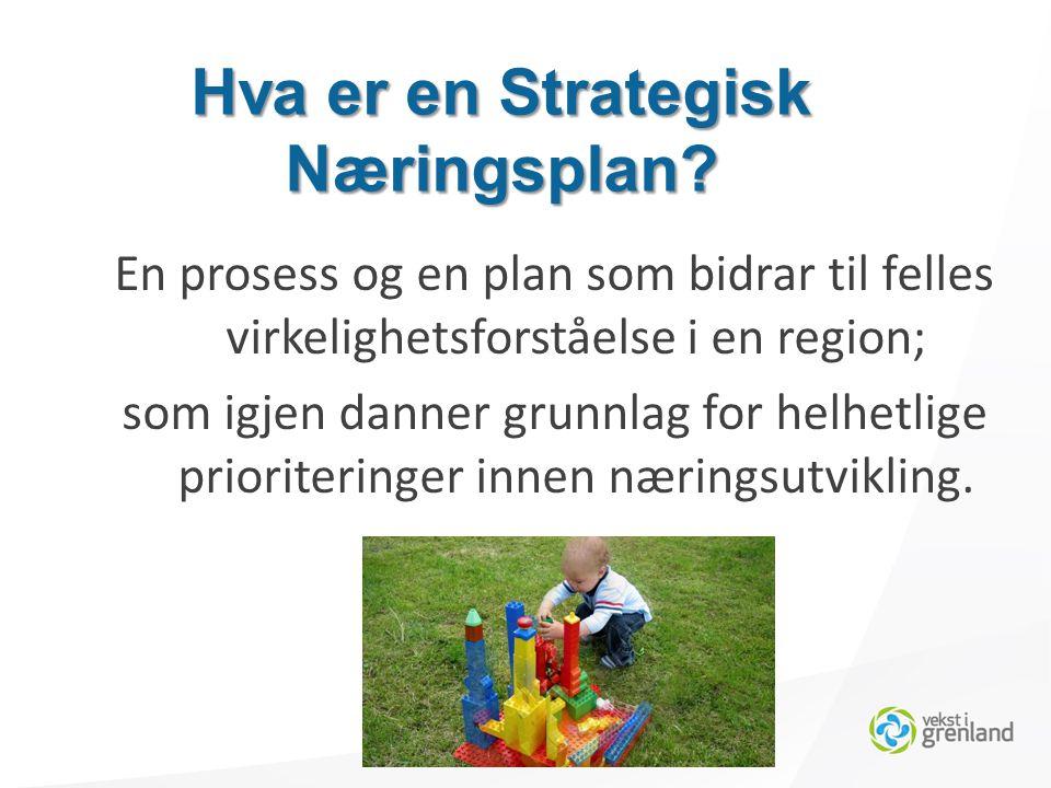 En prosess og en plan som bidrar til felles virkelighetsforståelse i en region; som igjen danner grunnlag for helhetlige prioriteringer innen næringsutvikling.