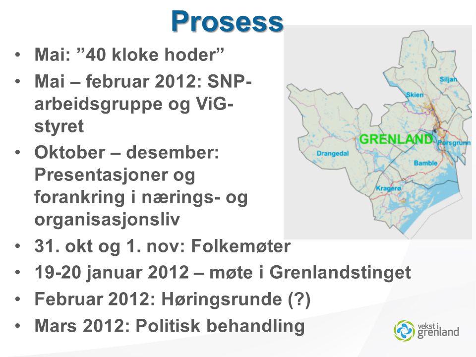 Mai: 40 kloke hoder Mai – februar 2012: SNP- arbeidsgruppe og ViG- styret Oktober – desember: Presentasjoner og forankring i nærings- og organisasjonsliv 31.