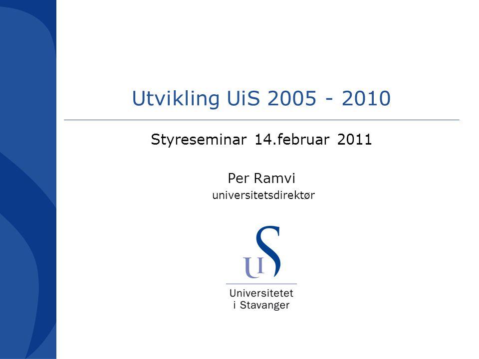 Utvikling UiS 2005 - 2010 Styreseminar 14.februar 2011 Per Ramvi universitetsdirektør