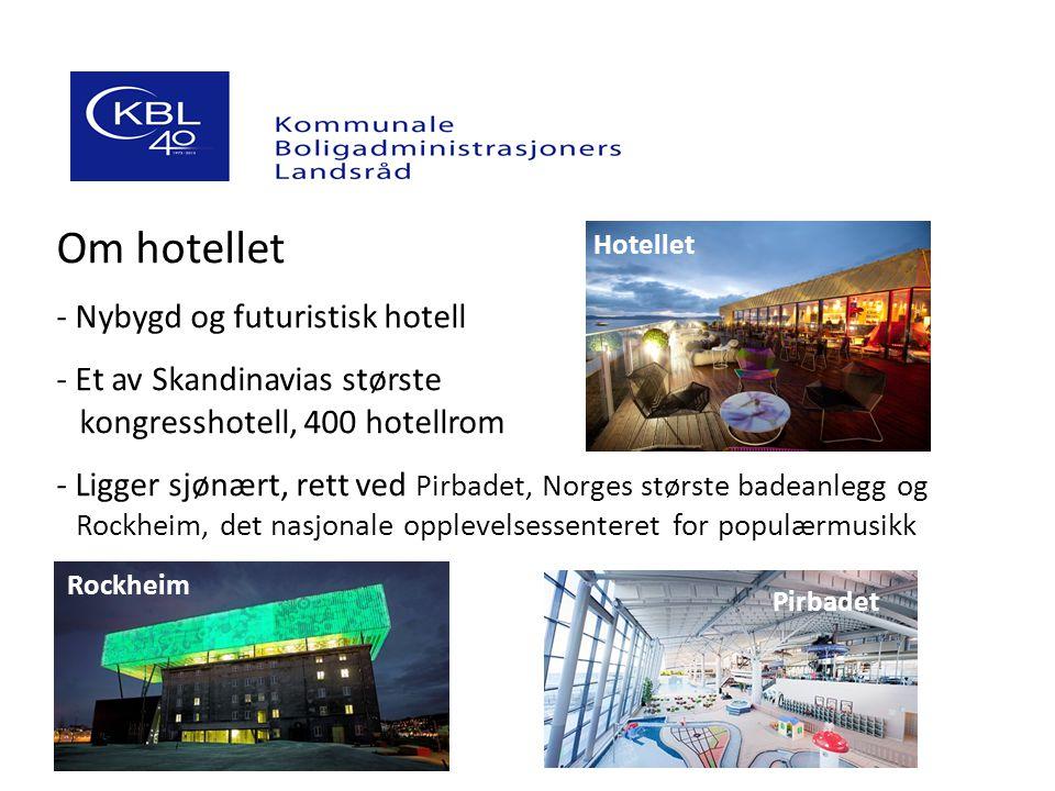 Om hotellet - Nybygd og futuristisk hotell - Et av Skandinavias største kongresshotell, 400 hotellrom - Ligger sjønært, rett ved Pirbadet, Norges største badeanlegg og --Rockheim, det nasjonale opplevelsessenteret for populærmusikk Hotellet Rockheim Pirbadet