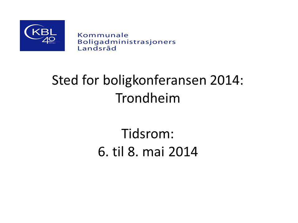 Sted for boligkonferansen 2014: Trondheim Tidsrom: 6. til 8. mai 2014