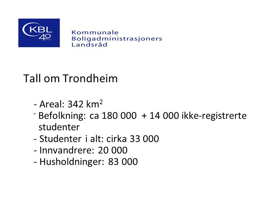 Tall om Trondheim - Areal: 342 km 2 - Befolkning: ca 180 000 + 14 000 ikke-registrerte studenter - Studenter i alt: cirka 33 000 - Innvandrere: 20 000 - Husholdninger: 83 000