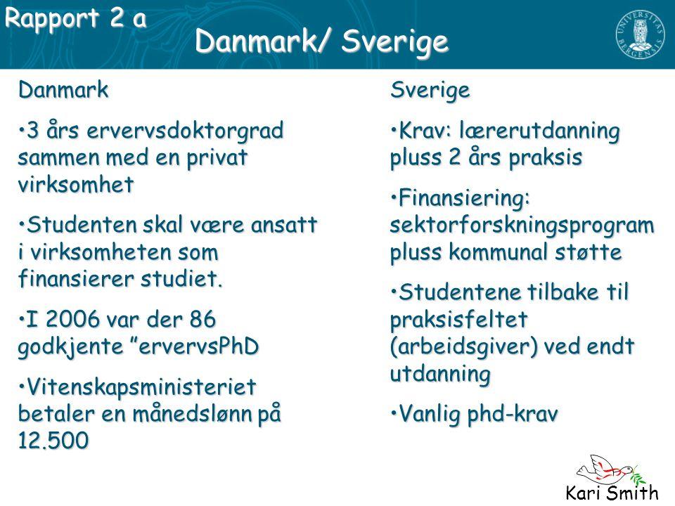 Kari Smith Danmark/ Sverige Danmark 3 års ervervsdoktorgrad sammen med en privat virksomhet3 års ervervsdoktorgrad sammen med en privat virksomhet Stu