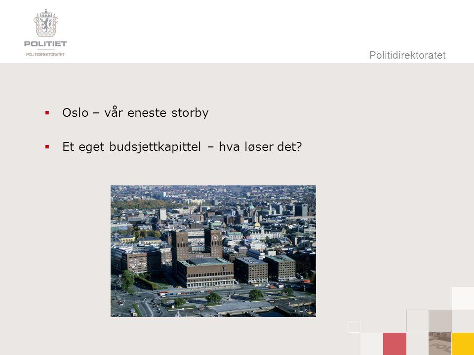 Politidirektoratet  Oslo – vår eneste storby  Et eget budsjettkapittel – hva løser det