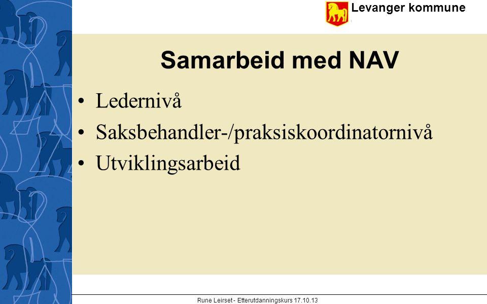 Levanger kommune enhet Samarbeid med NAV Ledernivå Saksbehandler-/praksiskoordinatornivå Utviklingsarbeid Rune Leirset - Etterutdanningskurs 17.10.13