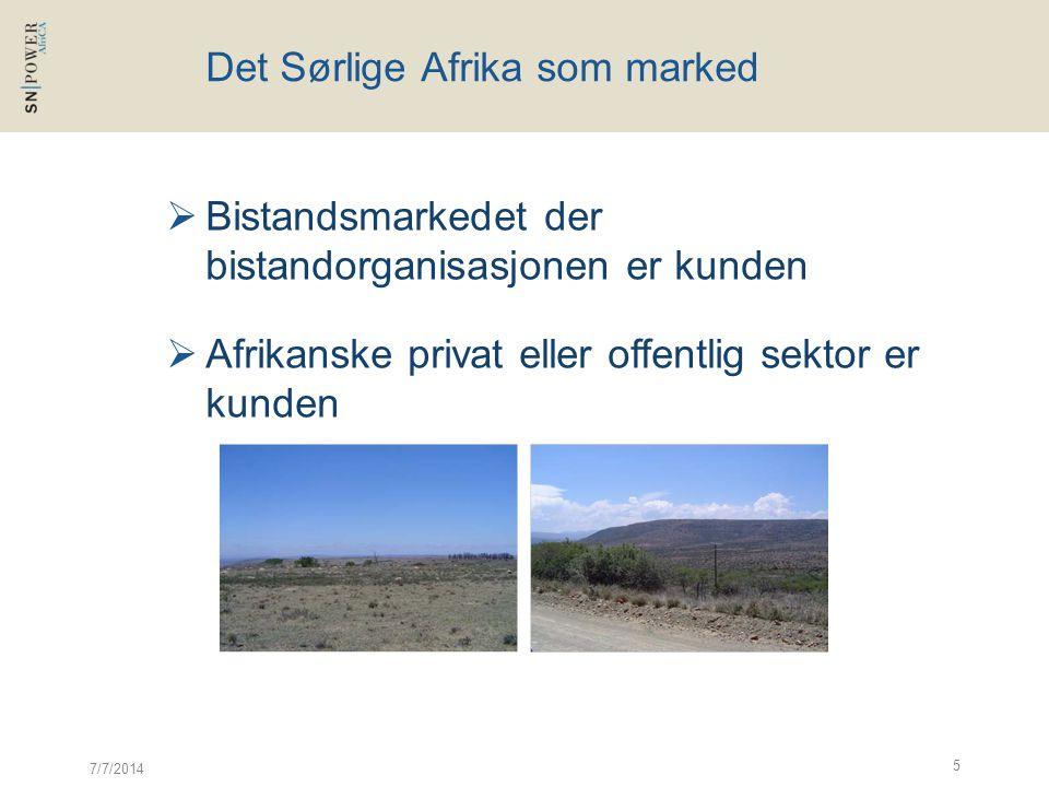 7/7/2014 5 Det Sørlige Afrika som marked  Bistandsmarkedet der bistandorganisasjonen er kunden  Afrikanske privat eller offentlig sektor er kunden