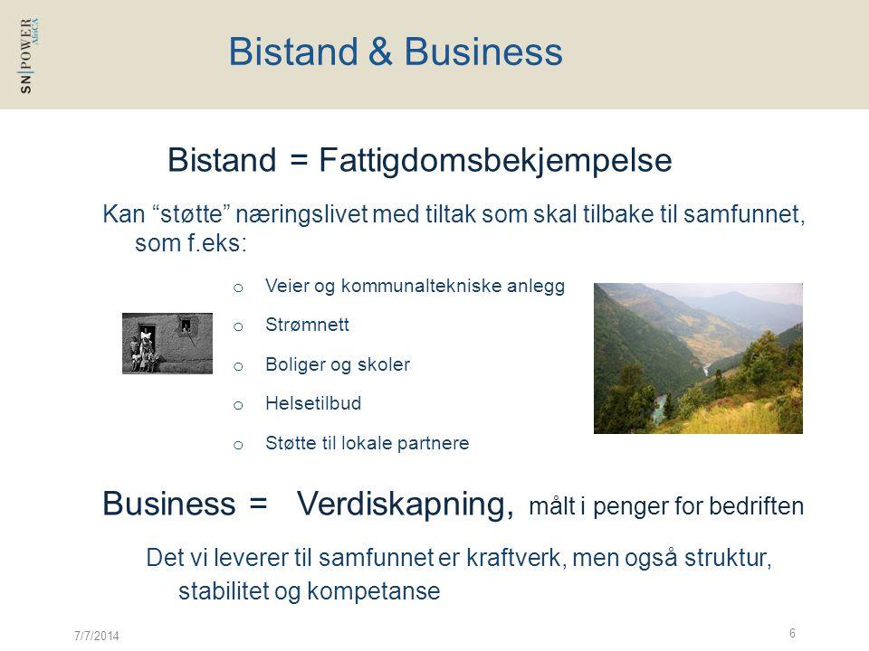 """7/7/2014 6 Bistand & Business Bistand = Fattigdomsbekjempelse Kan """"støtte"""" næringslivet med tiltak som skal tilbake til samfunnet, som f.eks: o Veier"""