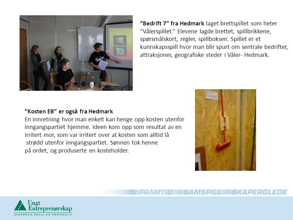 Bedrift 7 fra Hedmark laget brettspillet som heter Vålerspillet. Elevene lagde brettet, spillbrikkene, spørsmålskort, regler, spillboksen.