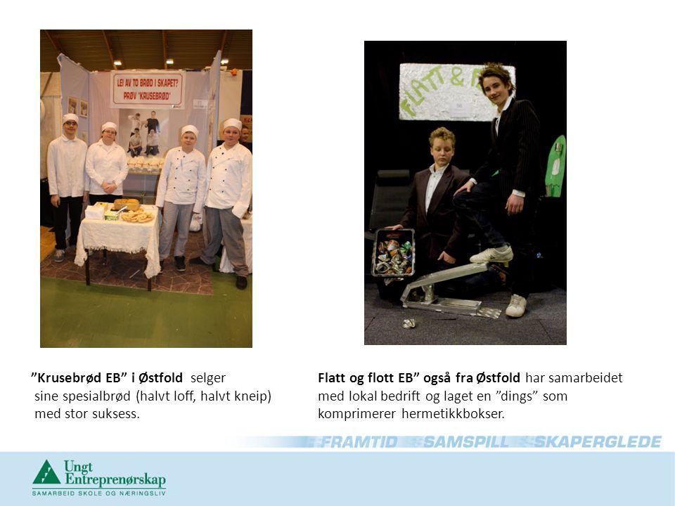 """""""Krusebrød EB"""" i Østfold selger sine spesialbrød (halvt loff, halvt kneip) med stor suksess. Flatt og flott EB"""" også fra Østfold har samarbeidet med l"""