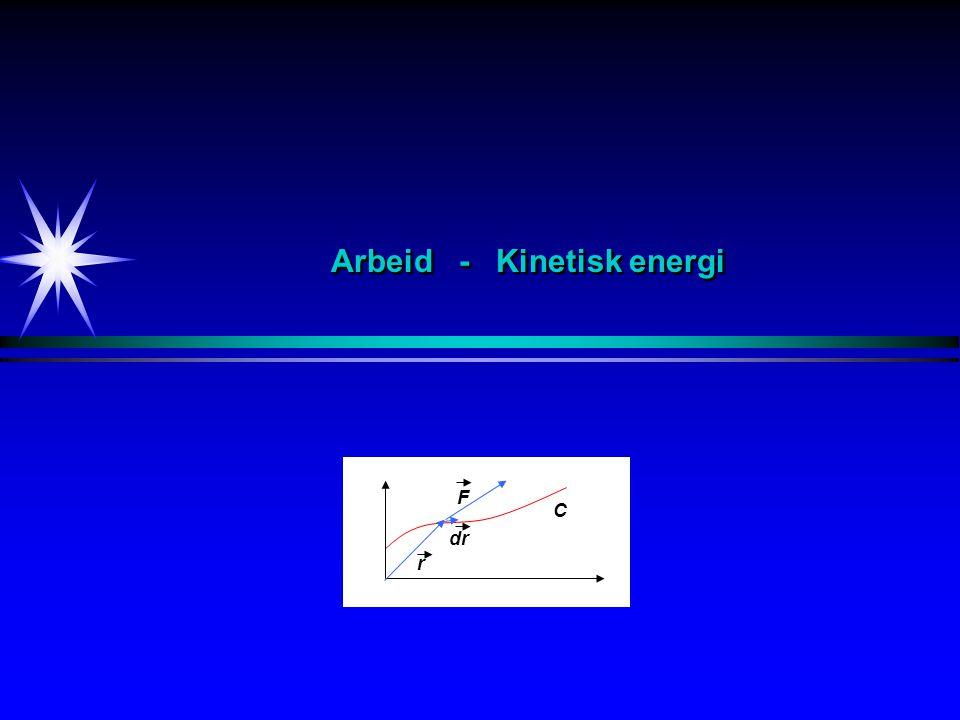 Arbeid Def F s F s F ds F r dr C Konstant kraft i samme retning som rettlinjet forflytning Konstant kraft danner en konstant vinkel med rettlinjet forflytning Varierende kraft danner en varierende vinkel med rettlinjet forflytning Varierende kraft danner en varierende vinkel med forflytning langs en kurve