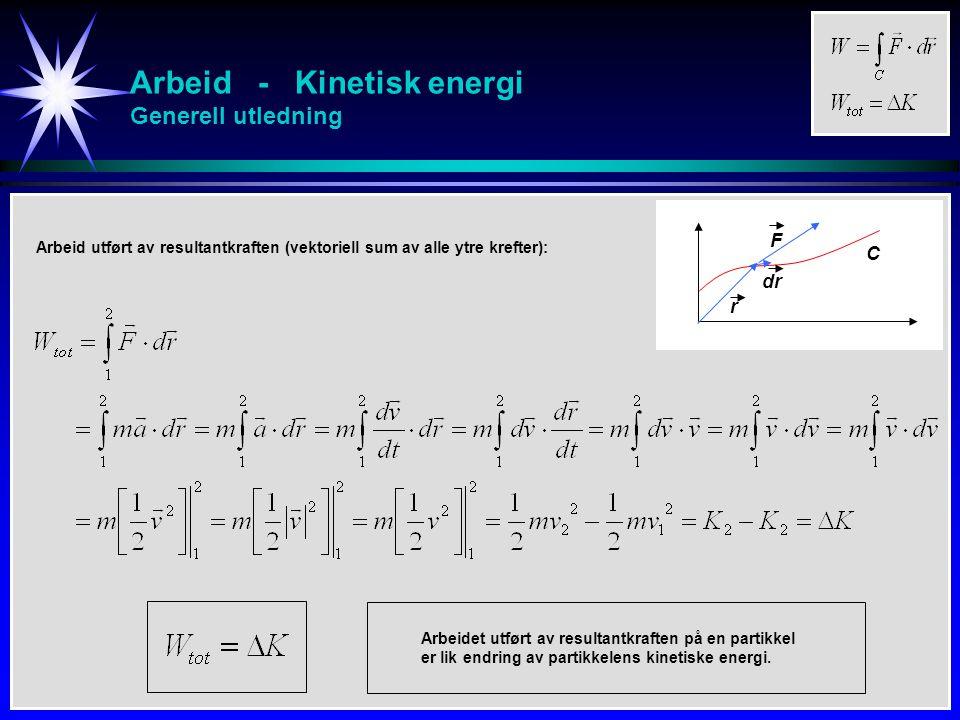 Arbeid - Kinetisk energi Eks En slede trekkes en strekning på s = 20m av en traktor.