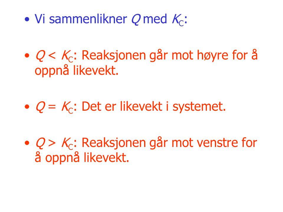 Vi sammenlikner Q med K C : Q < K C : Reaksjonen går mot høyre for å oppnå likevekt. Q = K C : Det er likevekt i systemet. Q > K C : Reaksjonen går mo