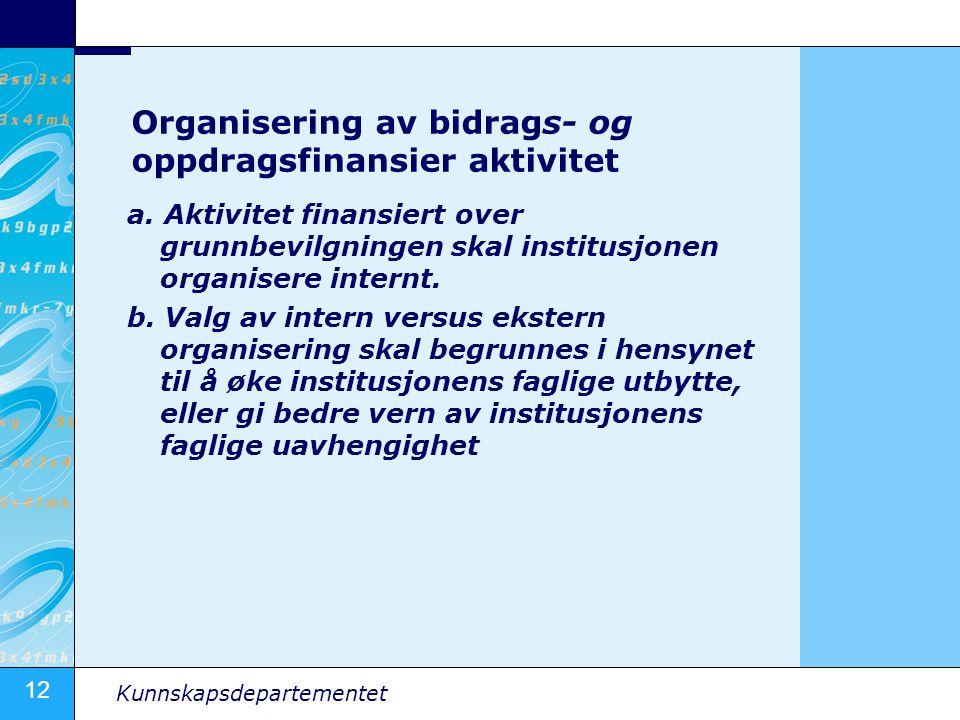 12 Kunnskapsdepartementet Organisering av bidrags- og oppdragsfinansier aktivitet a. Aktivitet finansiert over grunnbevilgningen skal institusjonen or
