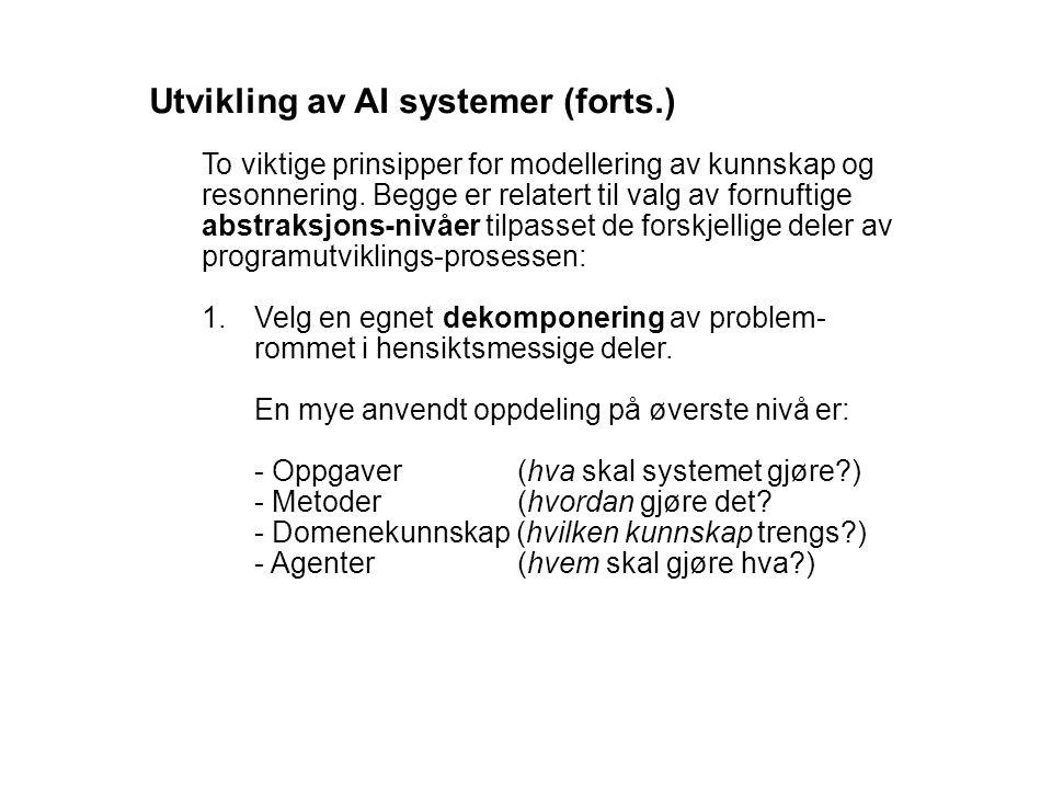 Utvikling av AI systemer (forts.) To viktige prinsipper for modellering av kunnskap og resonnering. Begge er relatert til valg av fornuftige abstraksj