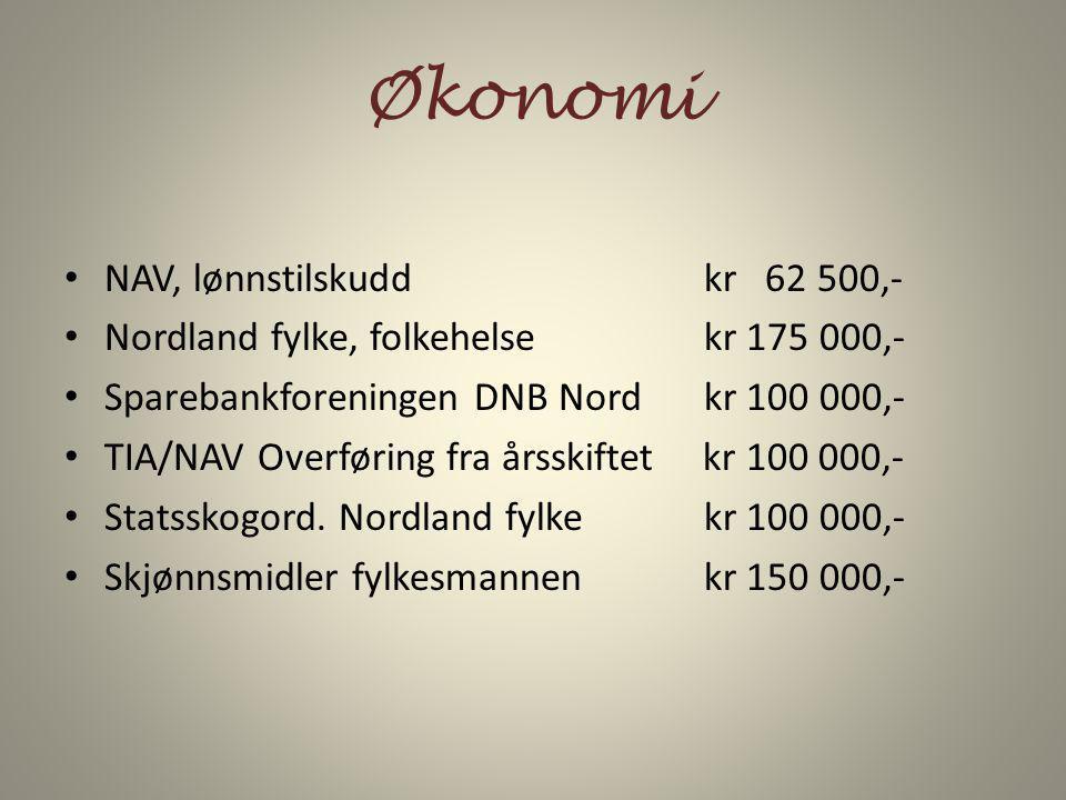 Økonomi NAV, lønnstilskudd kr 62 500,- Nordland fylke, folkehelsekr 175 000,- Sparebankforeningen DNB Nordkr 100 000,- TIA/NAV Overføring fra årsskift