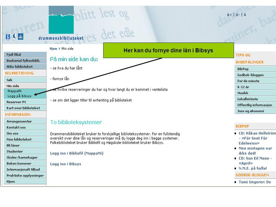 Her kan du fornye dine lån i Bibsys
