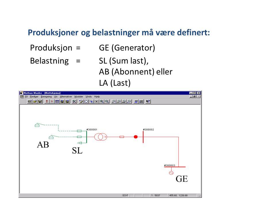 Produksjoner og belastninger må være definert: Produksjon= GE (Generator) Belastning = SL (Sum last), AB (Abonnent) eller LA (Last) GE AB SL