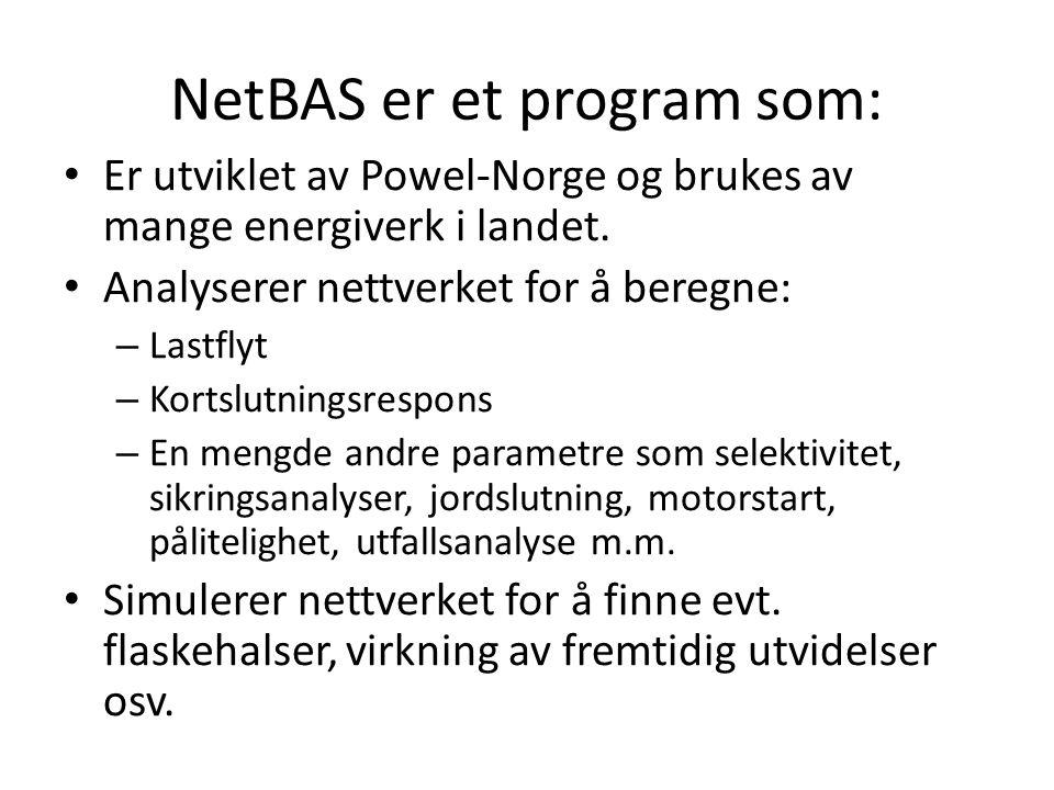 NetBAS er et program som: Er utviklet av Powel-Norge og brukes av mange energiverk i landet. Analyserer nettverket for å beregne: – Lastflyt – Kortslu