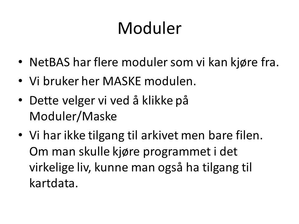 Moduler NetBAS har flere moduler som vi kan kjøre fra. Vi bruker her MASKE modulen. Dette velger vi ved å klikke på Moduler/Maske Vi har ikke tilgang