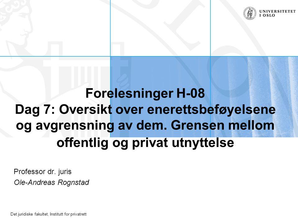 Det juridiske fakultet, Institutt for privatrett Forelesninger H-08 Dag 7: Oversikt over enerettsbeføyelsene og avgrensning av dem.