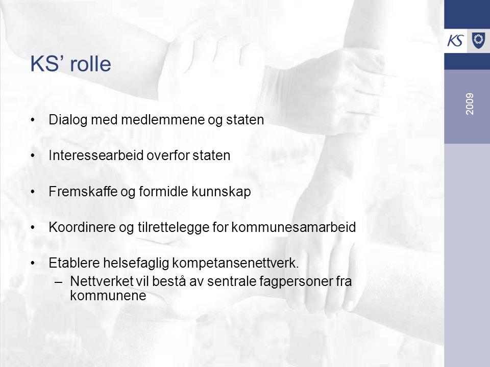 2009 KS' rolle Dialog med medlemmene og staten Interessearbeid overfor staten Fremskaffe og formidle kunnskap Koordinere og tilrettelegge for kommunesamarbeid Etablere helsefaglig kompetansenettverk.