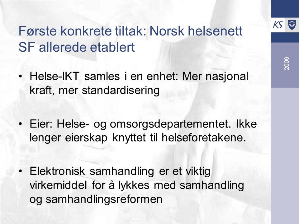 2009 Første konkrete tiltak: Norsk helsenett SF allerede etablert Helse-IKT samles i en enhet: Mer nasjonal kraft, mer standardisering Eier: Helse- og omsorgsdepartementet.
