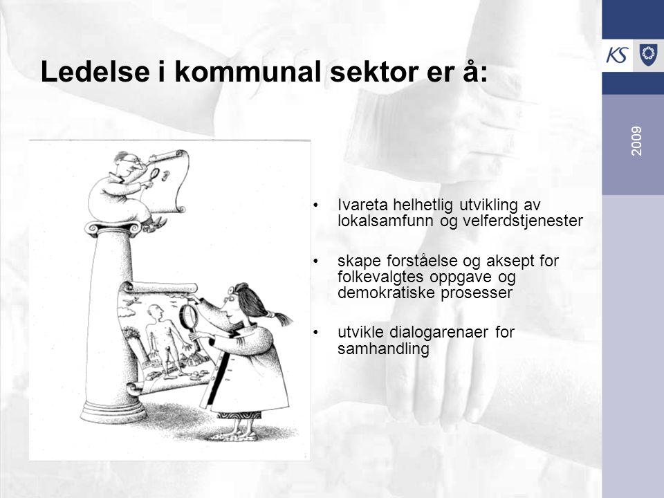 2009 Ledelse i kommunal sektor er å: Ivareta helhetlig utvikling av lokalsamfunn og velferdstjenester skape forståelse og aksept for folkevalgtes oppgave og demokratiske prosesser utvikle dialogarenaer for samhandling