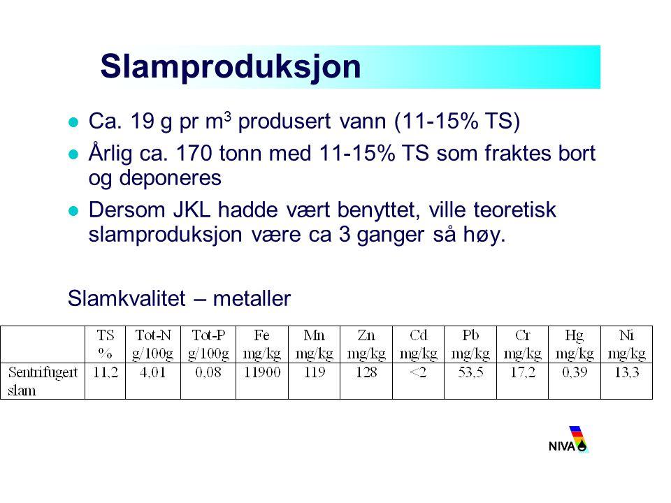 Slamproduksjon Ca. 19 g pr m 3 produsert vann (11-15% TS) Årlig ca. 170 tonn med 11-15% TS som fraktes bort og deponeres Dersom JKL hadde vært benytte
