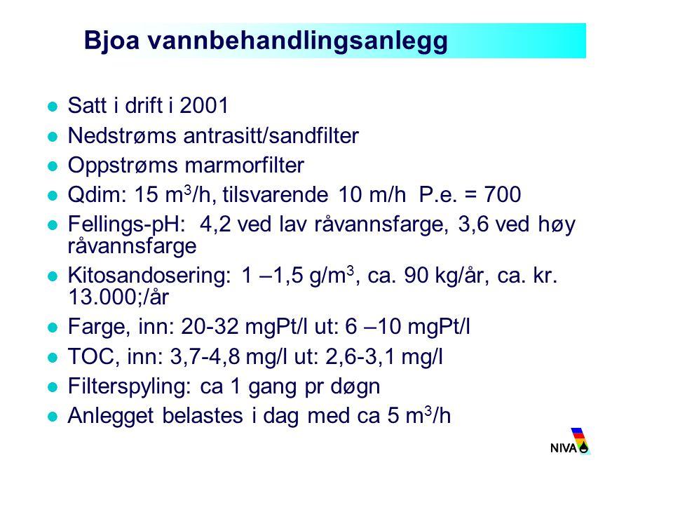 Bjoa vannbehandlingsanlegg Satt i drift i 2001 Nedstrøms antrasitt/sandfilter Oppstrøms marmorfilter Qdim: 15 m 3 /h, tilsvarende 10 m/h P.e. = 700 Fe