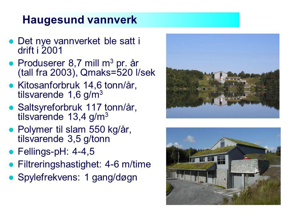 Haugesund vannverk Det nye vannverket ble satt i drift i 2001 Produserer 8,7 mill m 3 pr. år (tall fra 2003), Qmaks=520 l/sek Kitosanforbruk 14,6 tonn