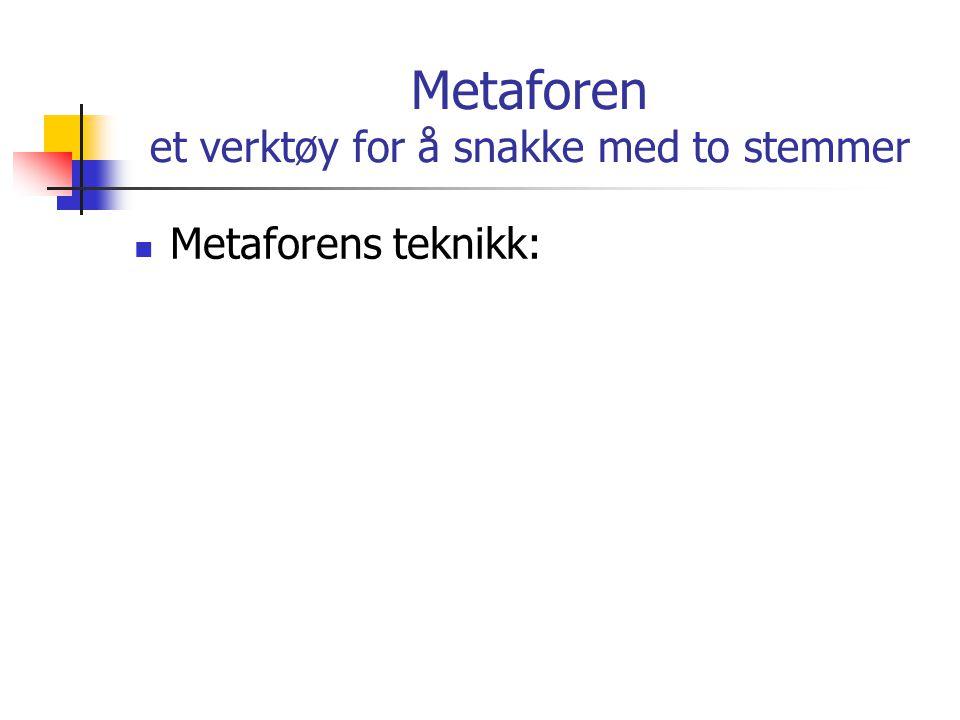 Metaforen et verktøy for å snakke med to stemmer Metaforens teknikk: