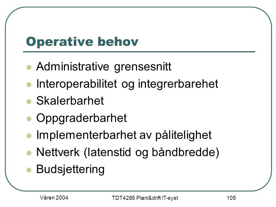 Våren 2004 TDT4285 Planl&drift IT-syst 105 Operative behov Administrative grensesnitt Interoperabilitet og integrerbarehet Skalerbarhet Oppgraderbarhe