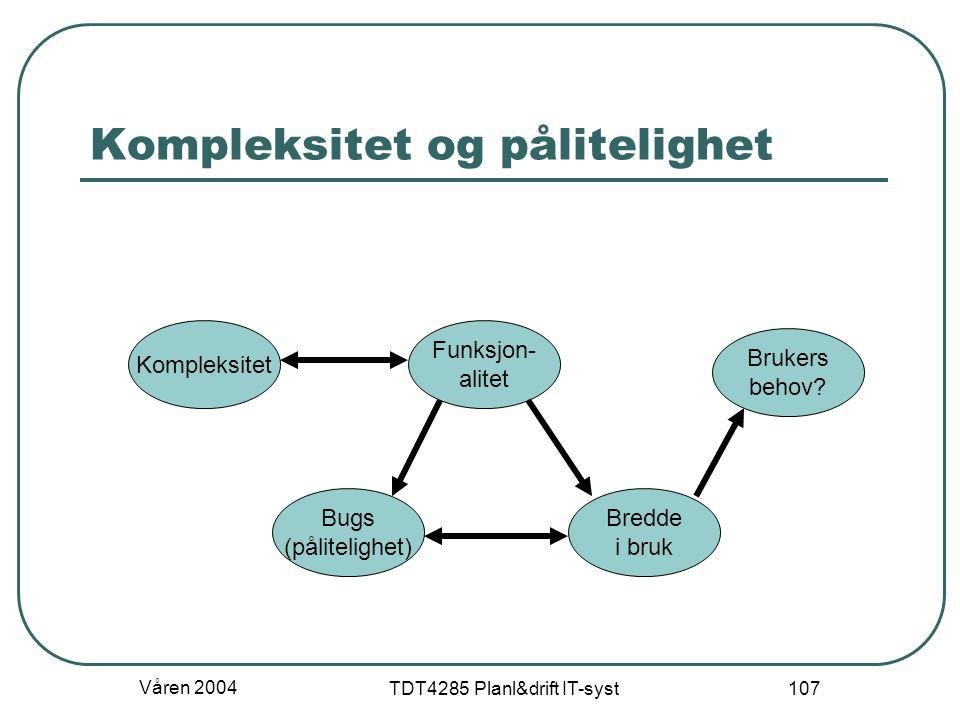 Våren 2004 TDT4285 Planl&drift IT-syst 107 Kompleksitet og pålitelighet Funksjon- alitet Kompleksitet Brukers behov? Bugs (pålitelighet) Bredde i bruk