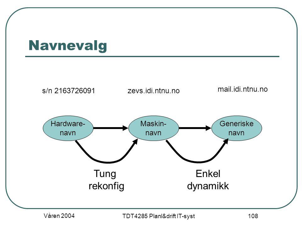 Våren 2004 TDT4285 Planl&drift IT-syst 108 Navnevalg Maskin- navn Generiske navn Hardware- navn Tung rekonfig Enkel dynamikk mail.idi.ntnu.no zevs.idi