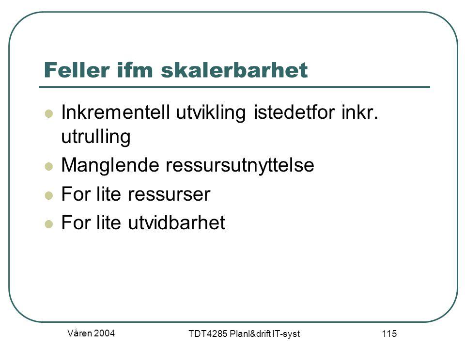 Våren 2004 TDT4285 Planl&drift IT-syst 115 Feller ifm skalerbarhet Inkrementell utvikling istedetfor inkr. utrulling Manglende ressursutnyttelse For l