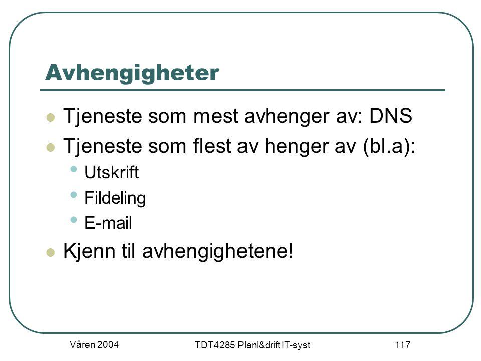 Våren 2004 TDT4285 Planl&drift IT-syst 117 Avhengigheter Tjeneste som mest avhenger av: DNS Tjeneste som flest av henger av (bl.a): Utskrift Fildeling