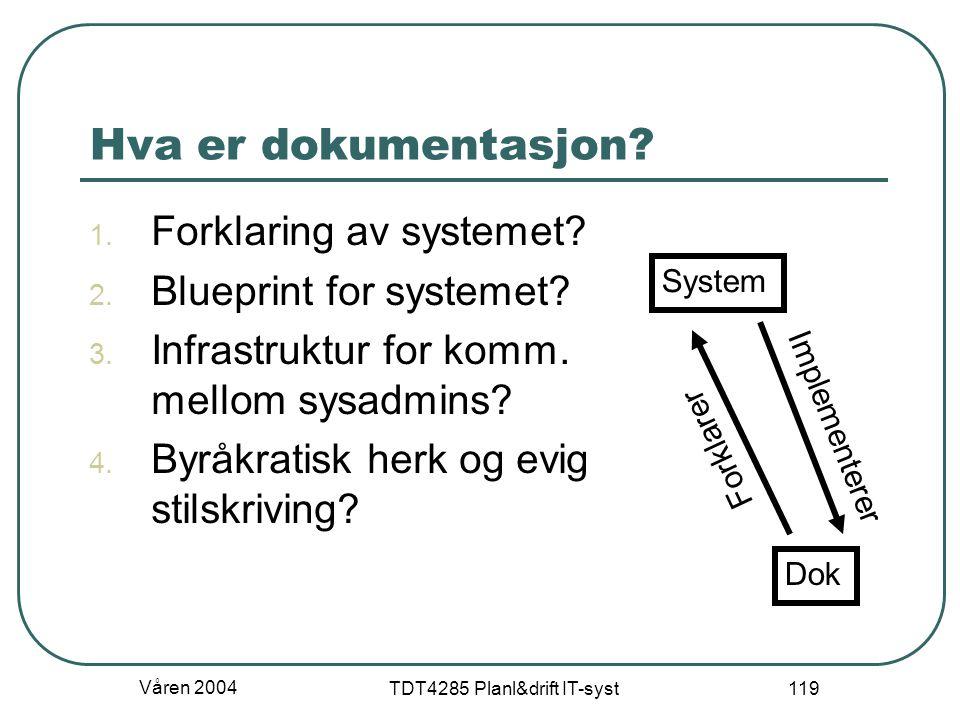 Våren 2004 TDT4285 Planl&drift IT-syst 119 Hva er dokumentasjon? 1. Forklaring av systemet? 2. Blueprint for systemet? 3. Infrastruktur for komm. mell