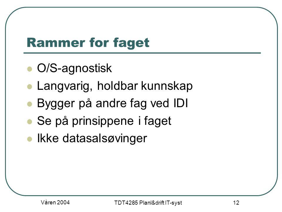 Våren 2004 TDT4285 Planl&drift IT-syst 12 Rammer for faget O/S-agnostisk Langvarig, holdbar kunnskap Bygger på andre fag ved IDI Se på prinsippene i f