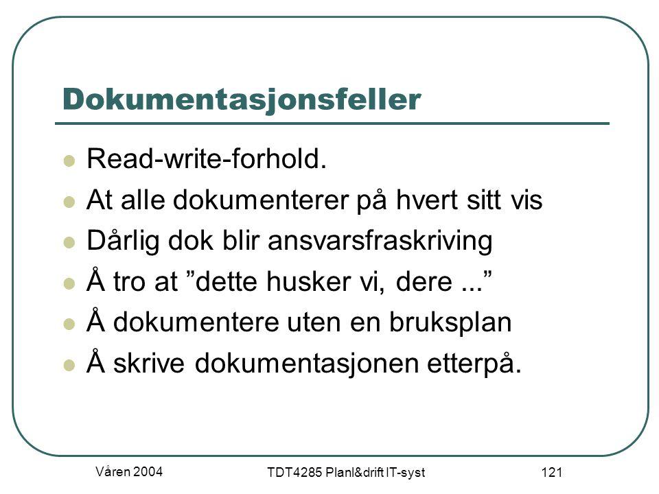 Våren 2004 TDT4285 Planl&drift IT-syst 121 Dokumentasjonsfeller Read-write-forhold. At alle dokumenterer på hvert sitt vis Dårlig dok blir ansvarsfras