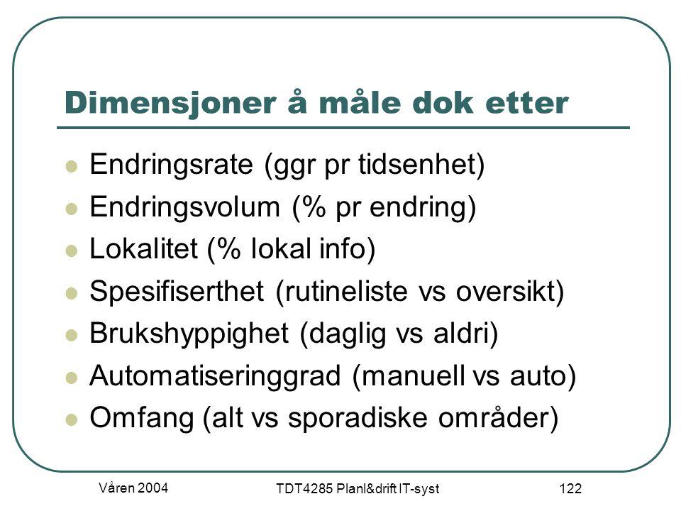 Våren 2004 TDT4285 Planl&drift IT-syst 122 Dimensjoner å måle dok etter Endringsrate (ggr pr tidsenhet) Endringsvolum (% pr endring) Lokalitet (% loka