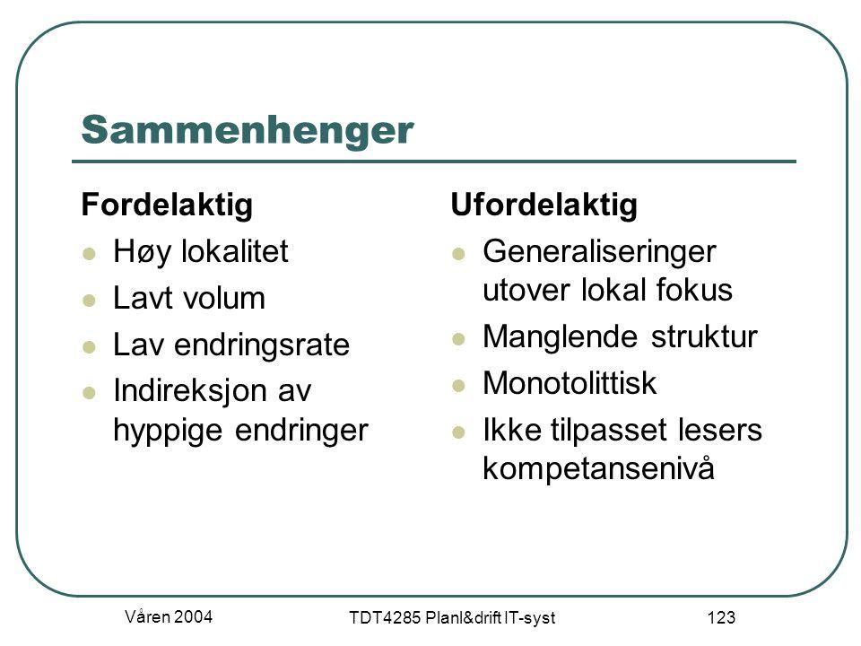 Våren 2004 TDT4285 Planl&drift IT-syst 123 Sammenhenger Fordelaktig Høy lokalitet Lavt volum Lav endringsrate Indireksjon av hyppige endringer Ufordel