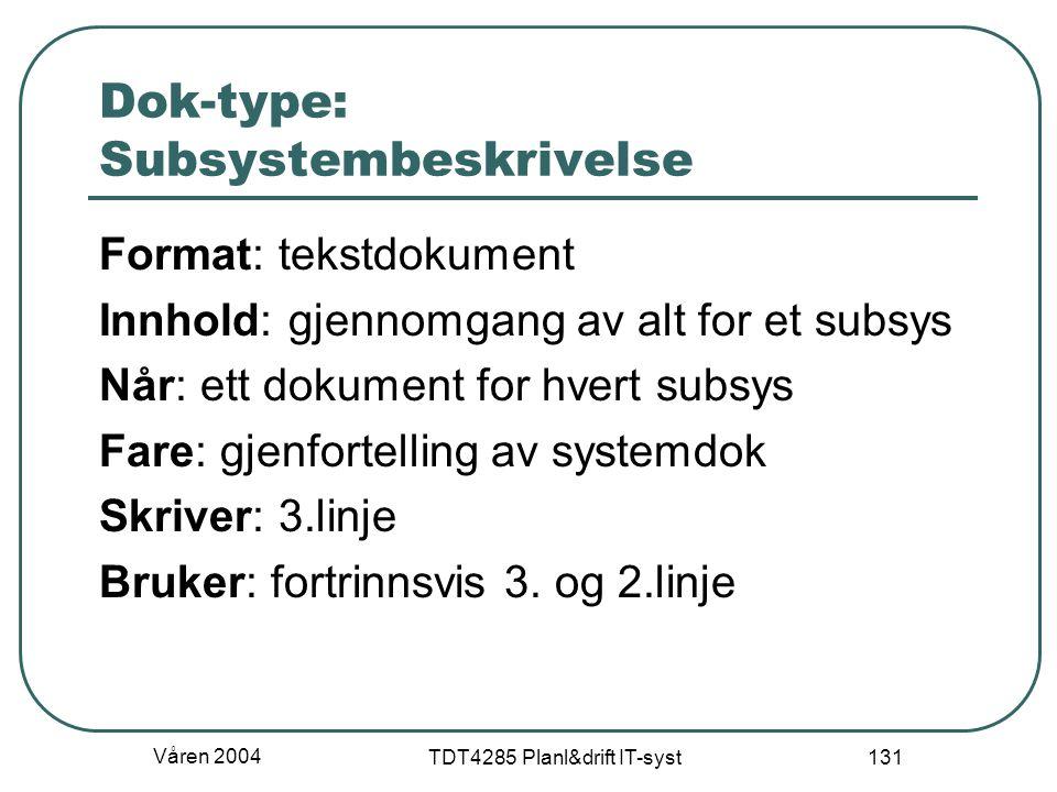 Våren 2004 TDT4285 Planl&drift IT-syst 131 Dok-type: Subsystembeskrivelse Format: tekstdokument Innhold: gjennomgang av alt for et subsys Når: ett dok