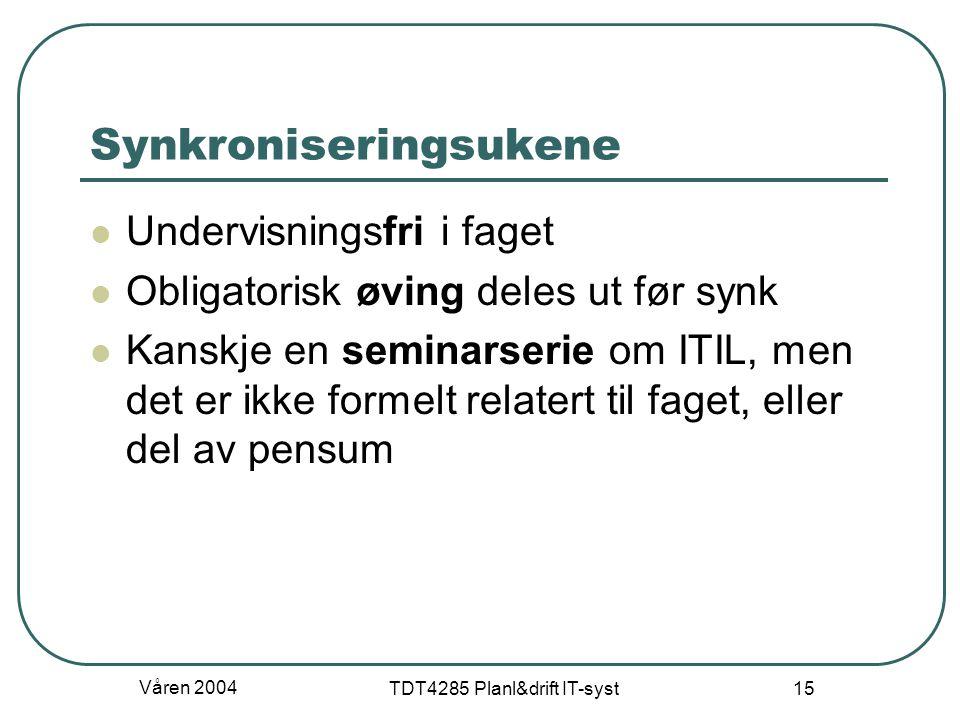 Våren 2004 TDT4285 Planl&drift IT-syst 15 Synkroniseringsukene Undervisningsfri i faget Obligatorisk øving deles ut før synk Kanskje en seminarserie o