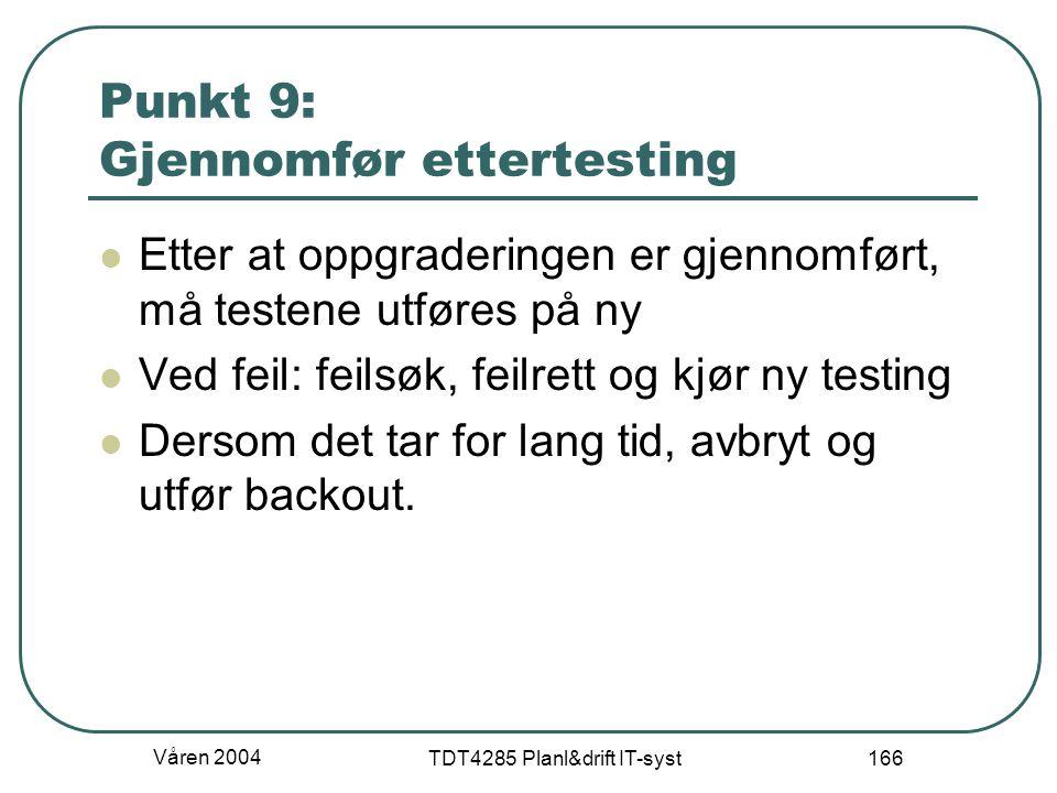 Våren 2004 TDT4285 Planl&drift IT-syst 166 Punkt 9: Gjennomfør ettertesting Etter at oppgraderingen er gjennomført, må testene utføres på ny Ved feil: