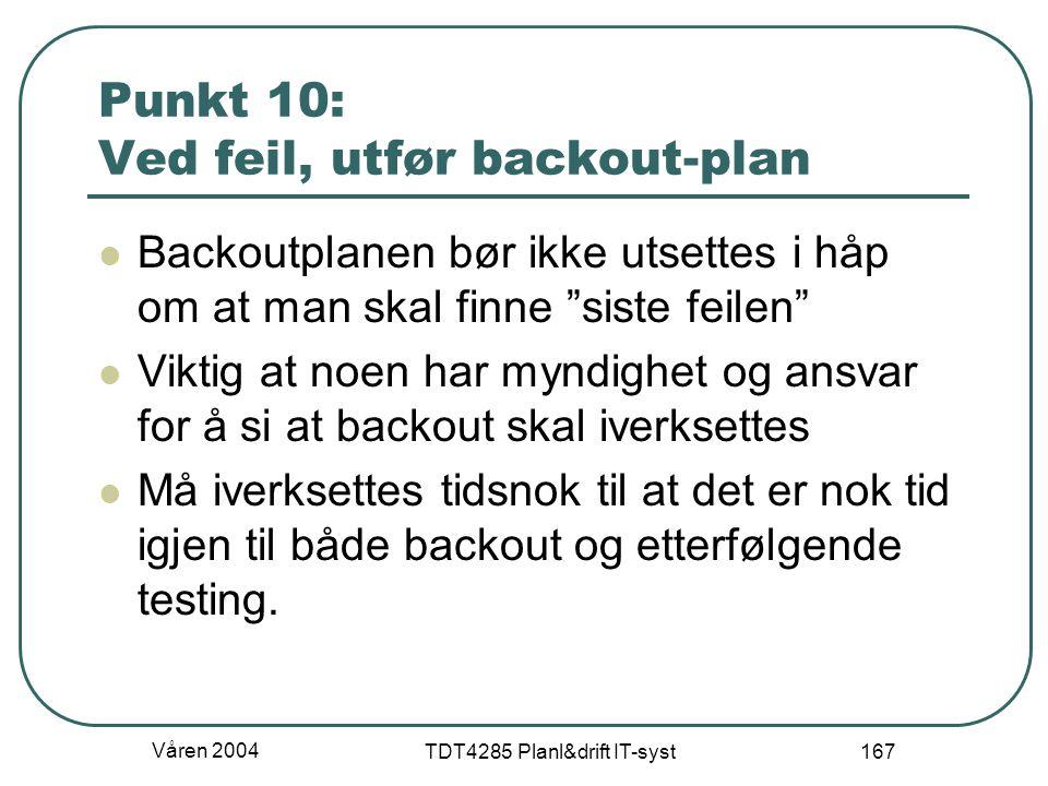 """Våren 2004 TDT4285 Planl&drift IT-syst 167 Punkt 10: Ved feil, utfør backout-plan Backoutplanen bør ikke utsettes i håp om at man skal finne """"siste fe"""