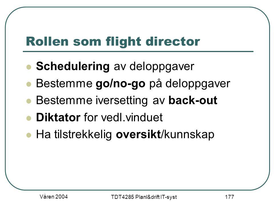 Våren 2004 TDT4285 Planl&drift IT-syst 177 Rollen som flight director Schedulering av deloppgaver Bestemme go/no-go på deloppgaver Bestemme iversettin