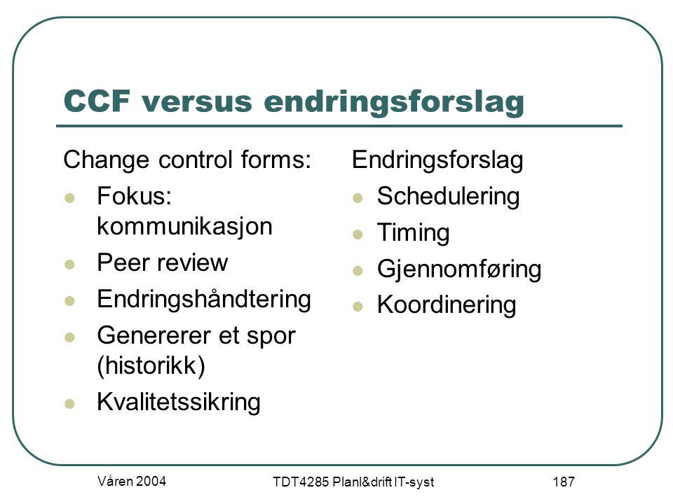 Våren 2004 TDT4285 Planl&drift IT-syst 187 CCF versus endringsforslag Change control forms: Fokus: kommunikasjon Peer review Endringshåndtering Genere
